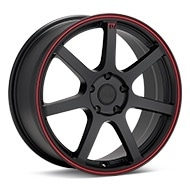 MOTEGI RACING MR132 Black w/Red Stripe Wheels