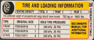 Tire Tech Information - Tire And Loading Information (Tire Placard)