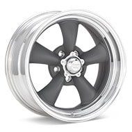 American Racing Authentic Hot Rod VN215 Torq Thrust II 1 PC Mag Grey w/Machined Lip Wheels