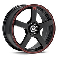 MOTEGI RACING MR116 Black w/Red Stripe Wheels