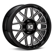 KMC XD Series XD849 Grenade 2 Gloss Black w/Milled Accent Wheels
